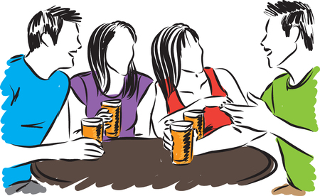 royalty free: group of friends drinking vector illustration
