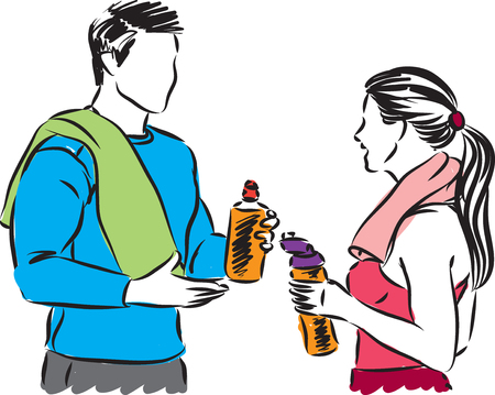 fitness couple talking and resting vector illustration