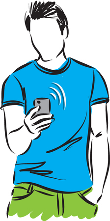 royalty free: man with cellphone vector illustration Illustration