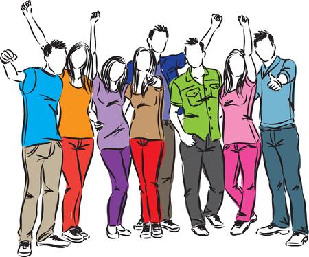 친구의 그룹 행복한 사람들이 일러스트레이션