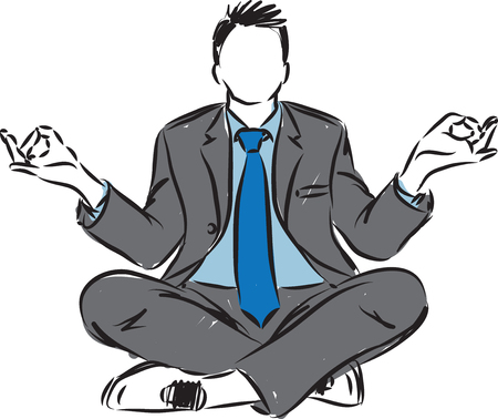 businessman in yoga position vector illustration
