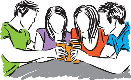 friends drinking beer vector illustration Ilustração