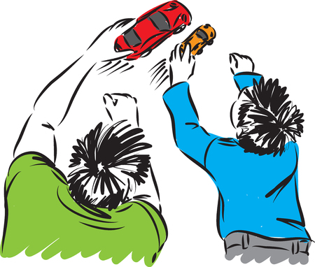 father and son playing little cars vector illustration Ilustrace