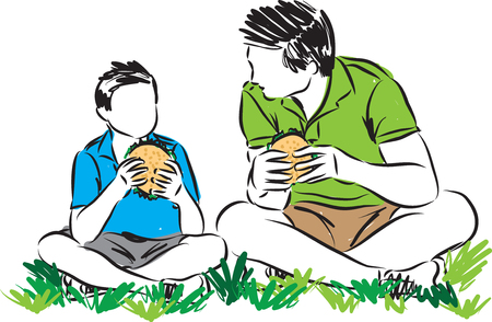 A father and son bonding eating sandwiches vector illustration.