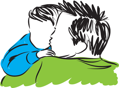 parenthood: father kissing son vector illustration