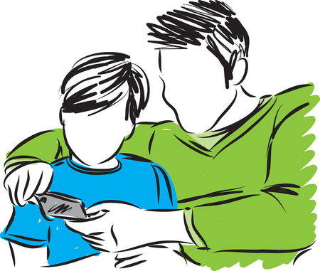 father and son with cellphone vector illustration