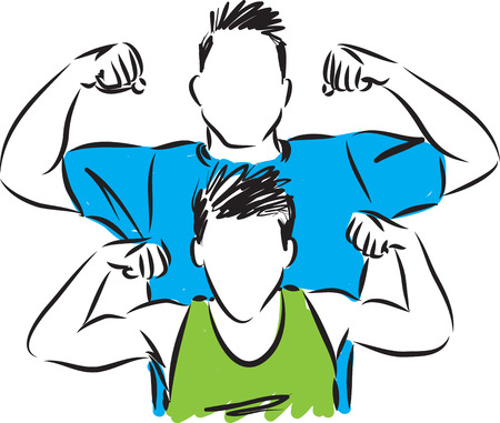 father and son strong concept vector illustration