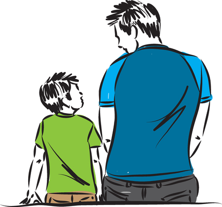father and son sitting down vector illustration Stock Illustratie