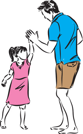 father with daughter vector illustration