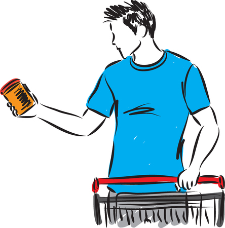 man choosing product with shopping cart illustration