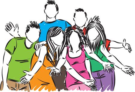 Group's of happy friends vector illustration Stock Illustratie