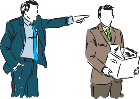 man yelling: BUSINESSMAN FIRED EMPLOYEE VECTOR ILLUSTRATION