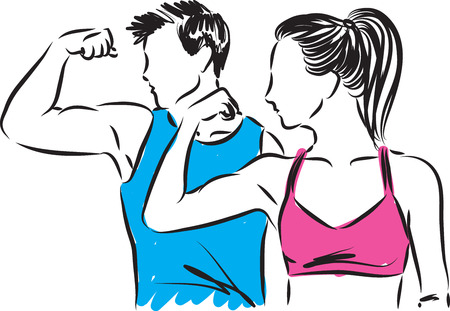 man and woman fitness showing muscles vector illustration Çizim