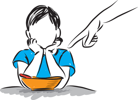 Little boy refusing to eat illustration.