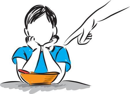 Little boy refusing to eat illustration.