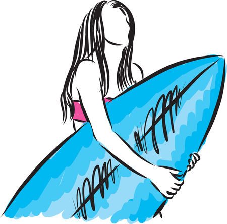 surf girl with surfboard vector illustration Illustration