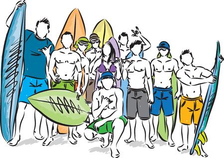 サーファーのベクトル図のグループ
