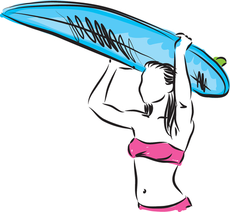 SURF GIRL WITH SURF BOARD VECTOR ILLUSTRATION Illustration
