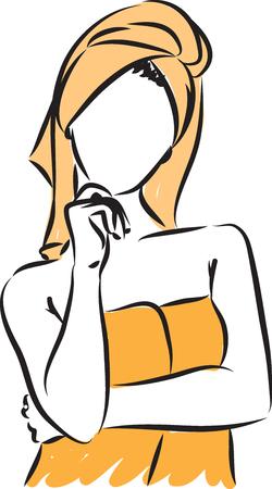 woman in bath towel thinking gesture illustration
