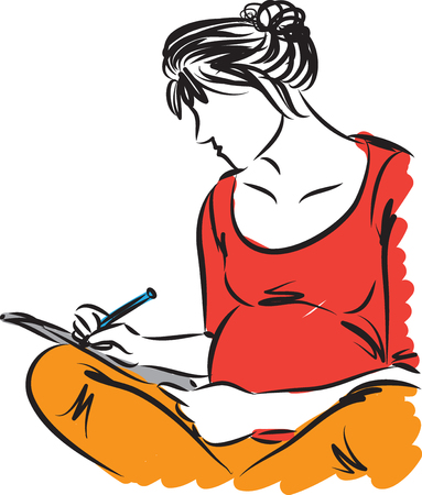 Pregnant woman sitting down and writing