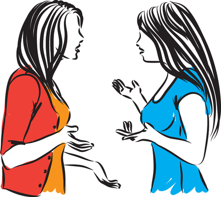 women arguing and discussing vector illustration