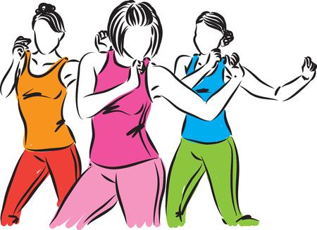 group of dancers women vector illustration