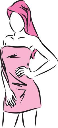 woman in bath towel vector illustration
