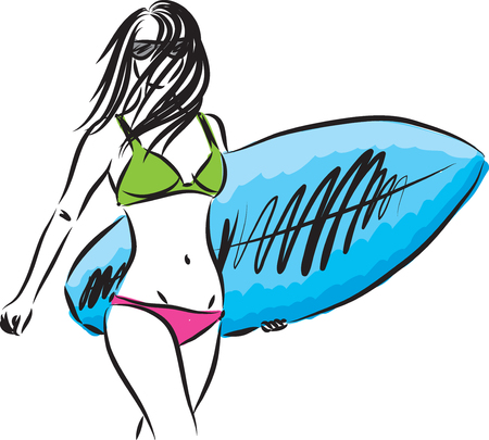 surfer girl vector illustration