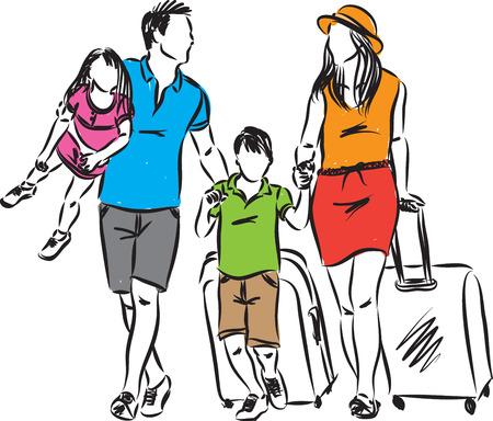 familie reizen foto vector illustratie Stock Illustratie