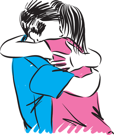 couple man and woman hugging vector illustration