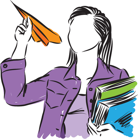 student with books and a paper plane vector illustration