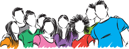 group of young students vector illustration