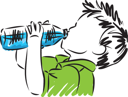 Llittle boy drinking water vector illustration