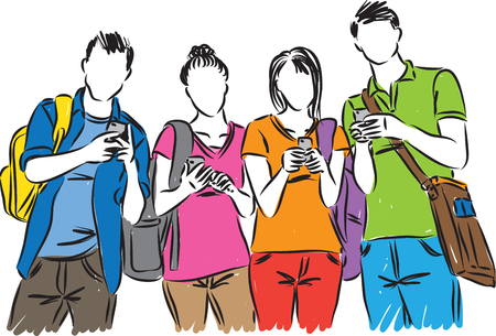college students with cellphones vector illustration