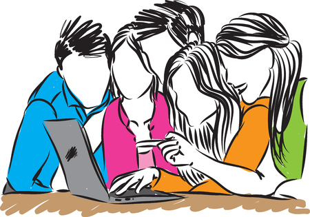people looking at laptop vector illustration