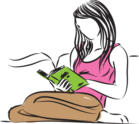 cushions: woman sitting reading a book vector illustration