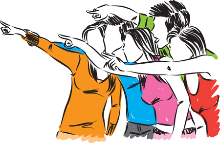 group of people pointing vector illustration