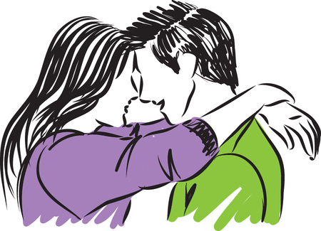 Man and woman hugging an looking vector illustration