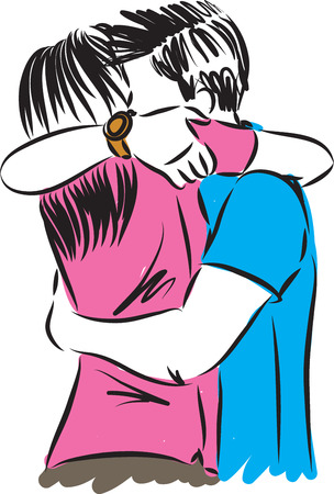 Couple man and mother hugging vector illustration