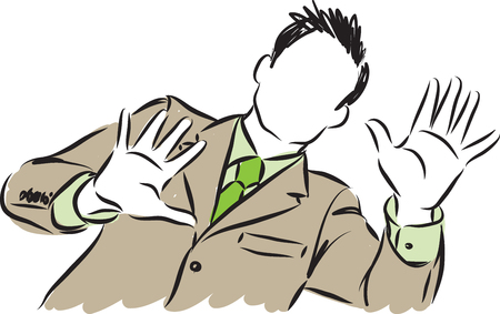 businessman showing hands vector illustration