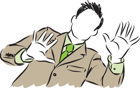 zakenman die handen vectorillustratie toont