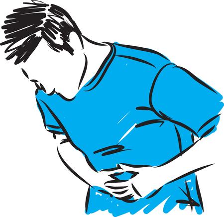 腹部の胃の痛みを持つ男.