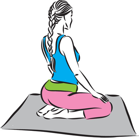 Fitness woman meditation illustration.