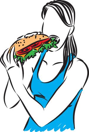 woman eating a big sandwich vector illustration