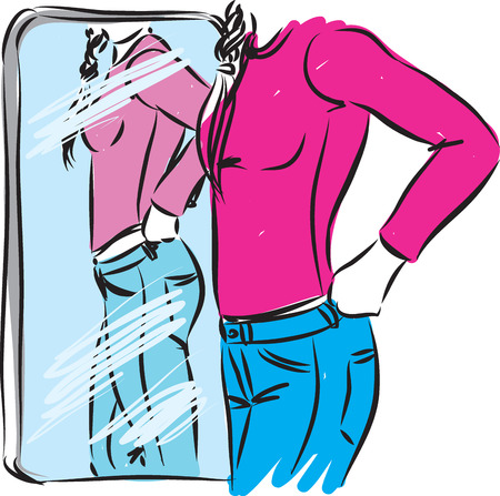 Woman trying clothes in front of mirror vector illustration.