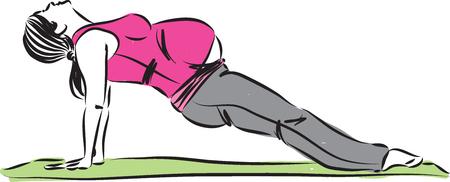 Femme enceinte qui s'étend de l'illustration vectorielle de yoga Banque d'images - 86902619
