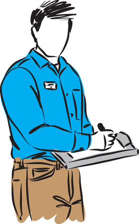 Delivery man vector illustration with papers