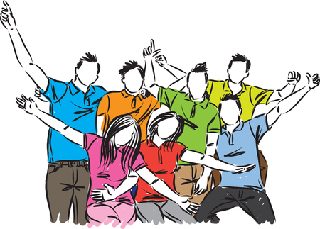 group of happy people celebration vector illustration Illustration