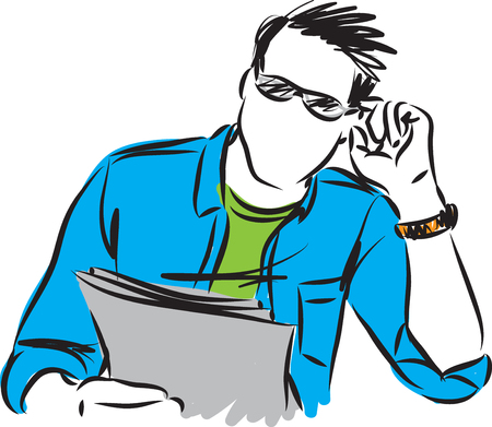 MAN WEARING GLASSES AND READING PAPERS vector illustration Illustration
