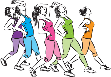 A group of fitness women dancing vector illustration.